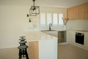White kitchen shutters