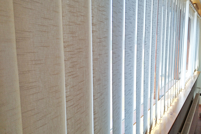 Vertical blinds in commercial office space